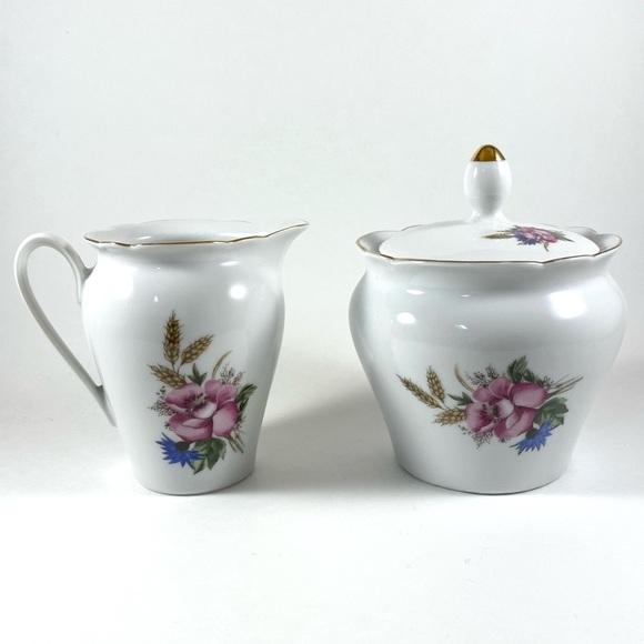 Vintage Kahla porcelain sugar and creamer set